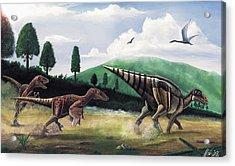 The Hunters - Balaur Bondoc And Telmatosaurus Transylvannicus Acrylic Print by Mihai Dumbrava