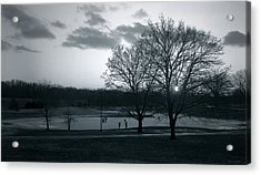 The Ice Skaters...kirby Park Pond Kingston Pa. Acrylic Print by Arthur Miller