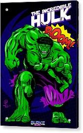 The Incredible Hulk Retro Style Acrylic Print by Joseph Burke