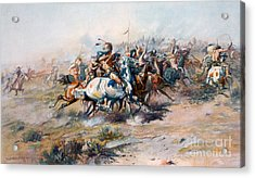The Indian Encirclement Of General Custer At The Battle Of The Little Big Horn Acrylic Print by Charles Marion Russell
