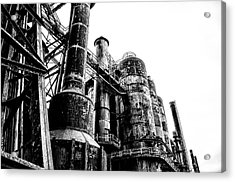 The Industrial Age At Bethlehem Steel In Black And White Acrylic Print by Bill Cannon