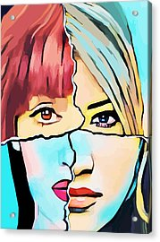 The Inner Struggle Split Personality Abstract Acrylic Print