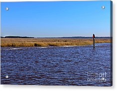 The Intracoastal Waterway In The Georgia Low Country In Winter Acrylic Print by Louise Heusinkveld