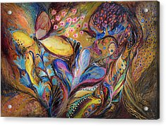 The Iris And The Butterfly Acrylic Print by Elena Kotliarker