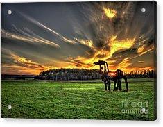 The Iron Horse Sunset Acrylic Print by Reid Callaway