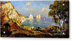 Acrylic Print featuring the painting The Island Of Capri And The Faraglioni by Rosario Piazza
