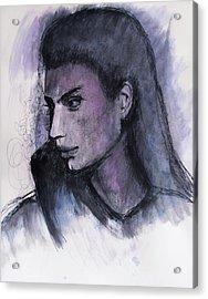 Acrylic Print featuring the drawing The Islander by Jarko Aka Lui Grande