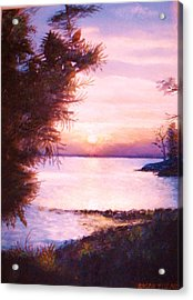 The James River At Twilight Acrylic Print by Anne-Elizabeth Whiteway