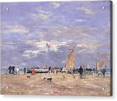 The Jetty At Deauville Acrylic Print by Eugene Louis Boudin