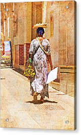 Acrylic Print featuring the photograph The Jewelry Seller - Malaga Spain by Mary Machare