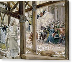 The Jews Took Up Stones To Cast At Him Acrylic Print by Tissot