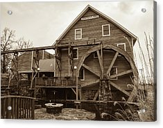 The Johnson Mill - Near Fayetteville Arkansas - Sepia Acrylic Print by Gregory Ballos
