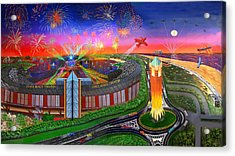 The Jones Beach Theatre With Fireworks Acrylic Print by Bonnie Siracusa