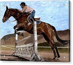 The Jumper - Horse And Rider Painting Acrylic Print