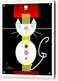 Acrylic Print featuring the mixed media The Junk Drawer Cat by Larry Talley