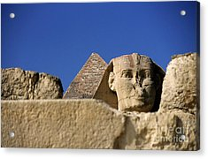 The Khephren Pyramid And The Great Sphinx Of Giza Acrylic Print by Sami Sarkis