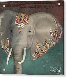 The King - African Bull Elephant - Kashmir Paisley Tribal Pattern Safari Home Decor Acrylic Print
