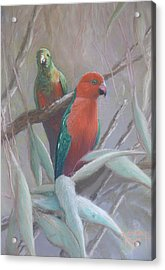 The King And Queen - King Parrots Acrylic Print by Leigh Rust