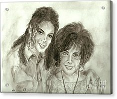 The King Of Pop And Elizabeth Taylor Acrylic Print by Nicole Wang
