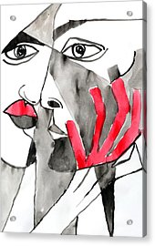 The Kiss In Red Acrylic Print by Jorge Berlato