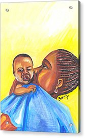 The Kiss Of A Mother In Senegal Acrylic Print by Emmanuel Baliyanga