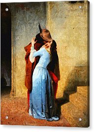 The Kiss Of Hayez Revisited - Da Acrylic Print by Leonardo Digenio
