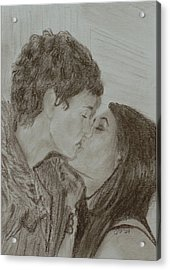 The Kiss Acrylic Print by Quwatha Valentine