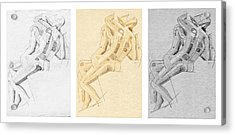 The Kiss - Triptych - Homage Rodin Acrylic Print