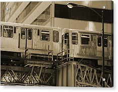 The L Downtown Chicago In Sepia Acrylic Print