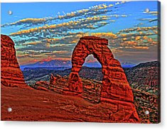 Acrylic Print featuring the photograph The La Sal Mountains And Arch by Scott Mahon
