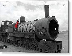 Acrylic Print featuring the photograph The Lady And The Train by Aidan Moran