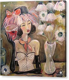 The Lady In The Flower Hat Acrylic Print by Jenna Fournier