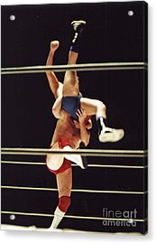 The Landing Is Going To Hurt With Old School Wrestling From The Cow Palace  Acrylic Print by Jim Fitzpatrick