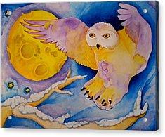 The Landing Of Snowy Owl Acrylic Print