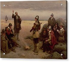 The Landing Of The Pilgrim Fathers Acrylic Print by George Henry Boughton
