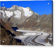 The Large Aletsch Glacier In Switzerland Acrylic Print