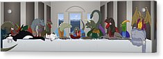The Last Supper Of Raptor Jesus Acrylic Print by Greasy Moose