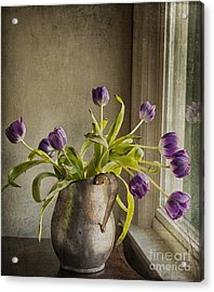 Acrylic Print featuring the mixed media The Last Tulips by Terry Rowe