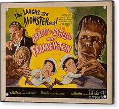The Laughs Are Monsterous Abott An Costello Meet Frankenstein Classic Movie Poster Acrylic Print by R Muirhead Art