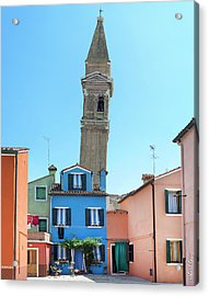 The Leaning Campanile Of Burano Acrylic Print by Robert Lacy