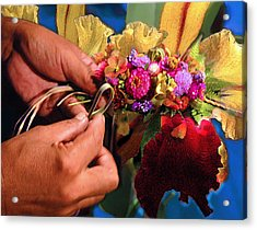 The Lei Maker Acrylic Print by Jeff Burgess