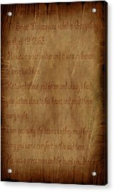 The Letter Home Acrylic Print by Evelyn Patrick