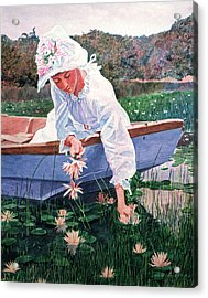 The Lily Gatherer Acrylic Print by David Lloyd Glover