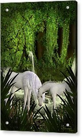 The Lineage Of Unicorns Acrylic Print by Emma Alvarez
