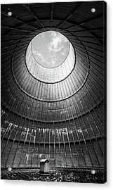 Acrylic Print featuring the photograph the little house inside the cooling tower BW by Dirk Ercken