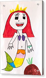 The Little Mermaid And The Pineapple Under A Dream Sea Through Children's Eyes Acrylic Print