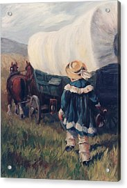 The Little Pioneer Western Art Acrylic Print by Kim Corpany