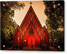 The Little Red Church Acrylic Print by Art Spectrum