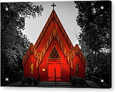 The Little Red Church In Black And White Acrylic Print by Art Spectrum