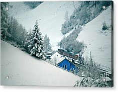 Acrylic Print featuring the photograph The Little Red Train - Winter In Switzerland  by Susanne Van Hulst